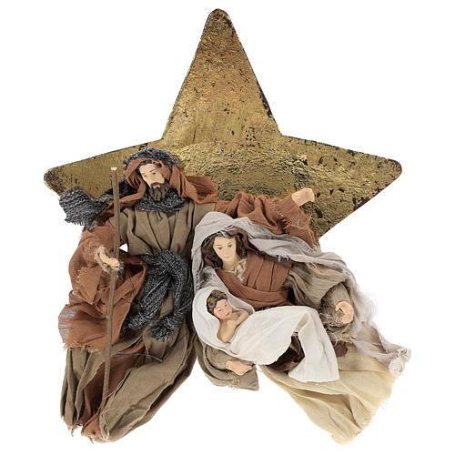 Nativity 30 cm Shabby Chic style in resin and fabric on background with star 1