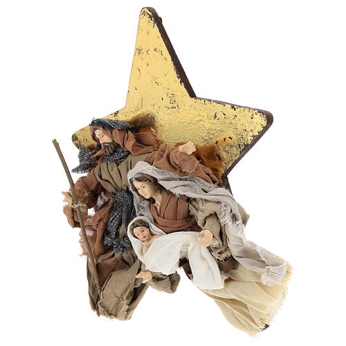 Nativity 30 cm Shabby Chic style in resin and fabric on background with star 2