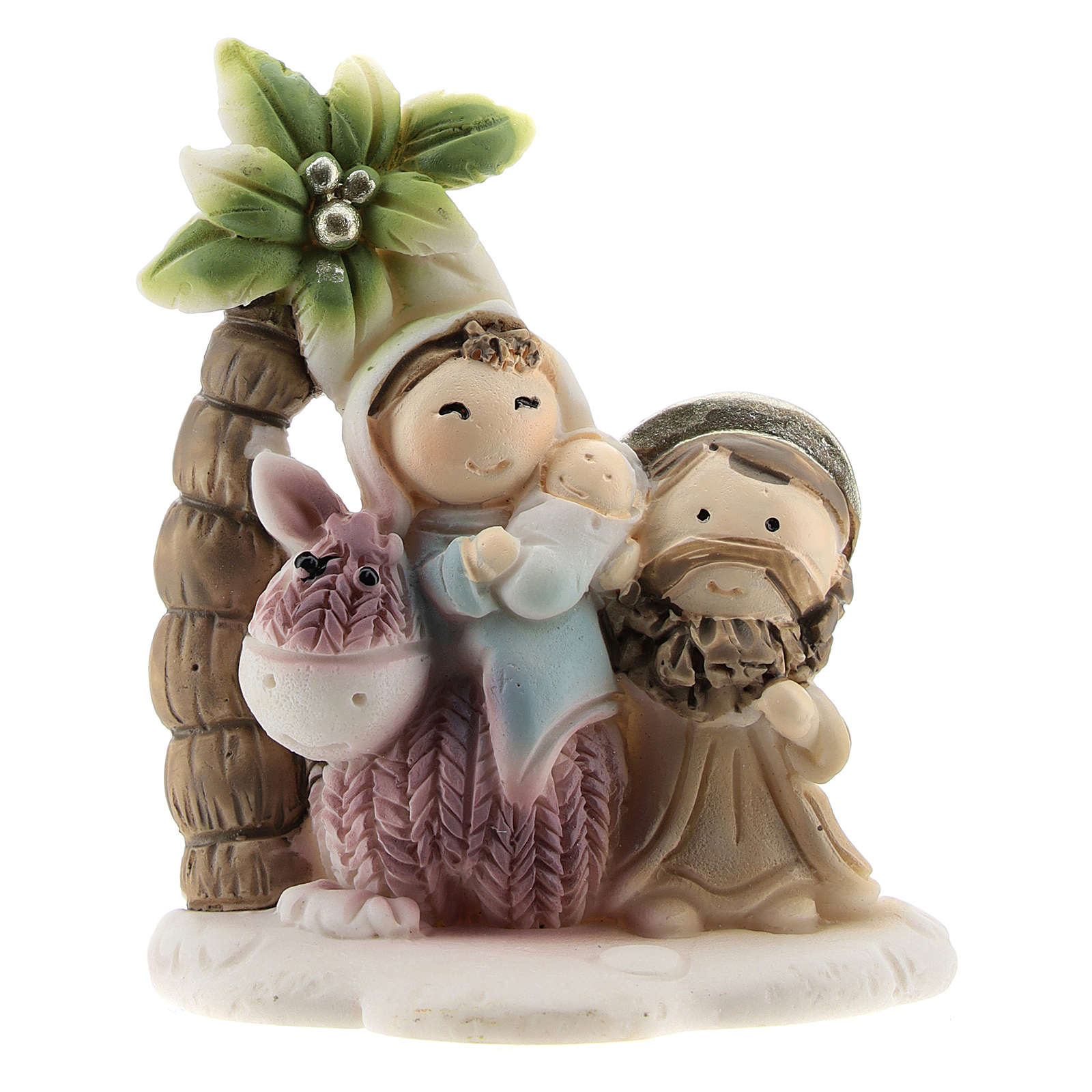 Holy Family set with palm in colored resin 4x2x5 cm childrens line 3