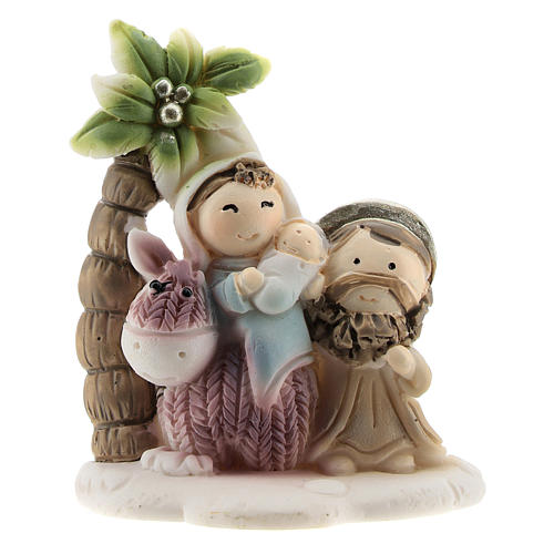 Holy Family set with palm in colored resin 4x2x5 cm childrens line 1