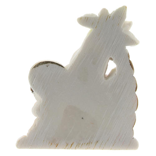 Holy Family set with palm in colored resin 4x2x5 cm childrens line 2