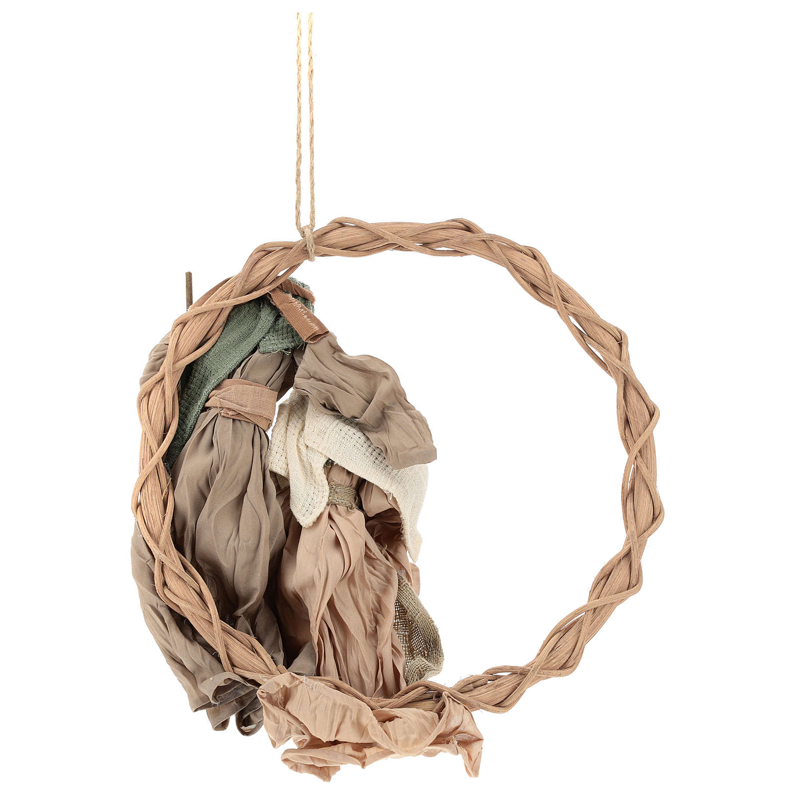 Wreath with Nativity in terracotta with green and beige fabric, Shabby Chic style 3