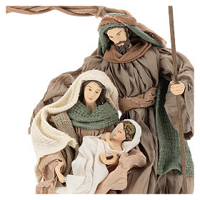 Wreath with Nativity in terracotta with green and beige fabric, Shabby Chic style s2