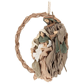Wreath with Nativity in terracotta with green and beige fabric, Shabby Chic style s3