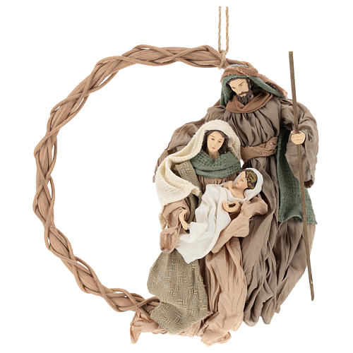 Wreath with Nativity in terracotta with green and beige fabric, Shabby Chic style 1