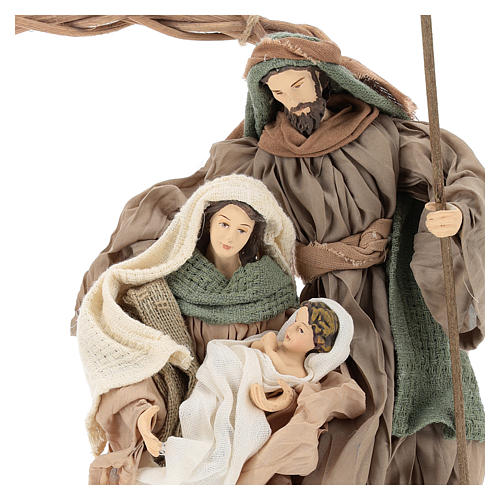 Wreath with Nativity in terracotta with green and beige fabric, Shabby Chic style 2