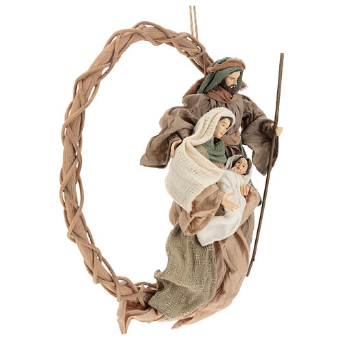Wreath with Nativity in terracotta with green and beige fabric, Shabby Chic style 4
