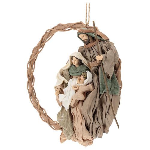 Coroa 30 cm com natividade 24 cm em resina Shabby Chic 3