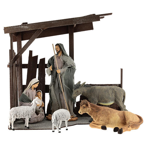 Nativity set in a hut, composed of 8 pieces, Shabby Chic style 1