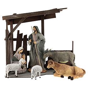 Set 8 pièces Nativité 35 cm avec cabane Shabby Chic s1