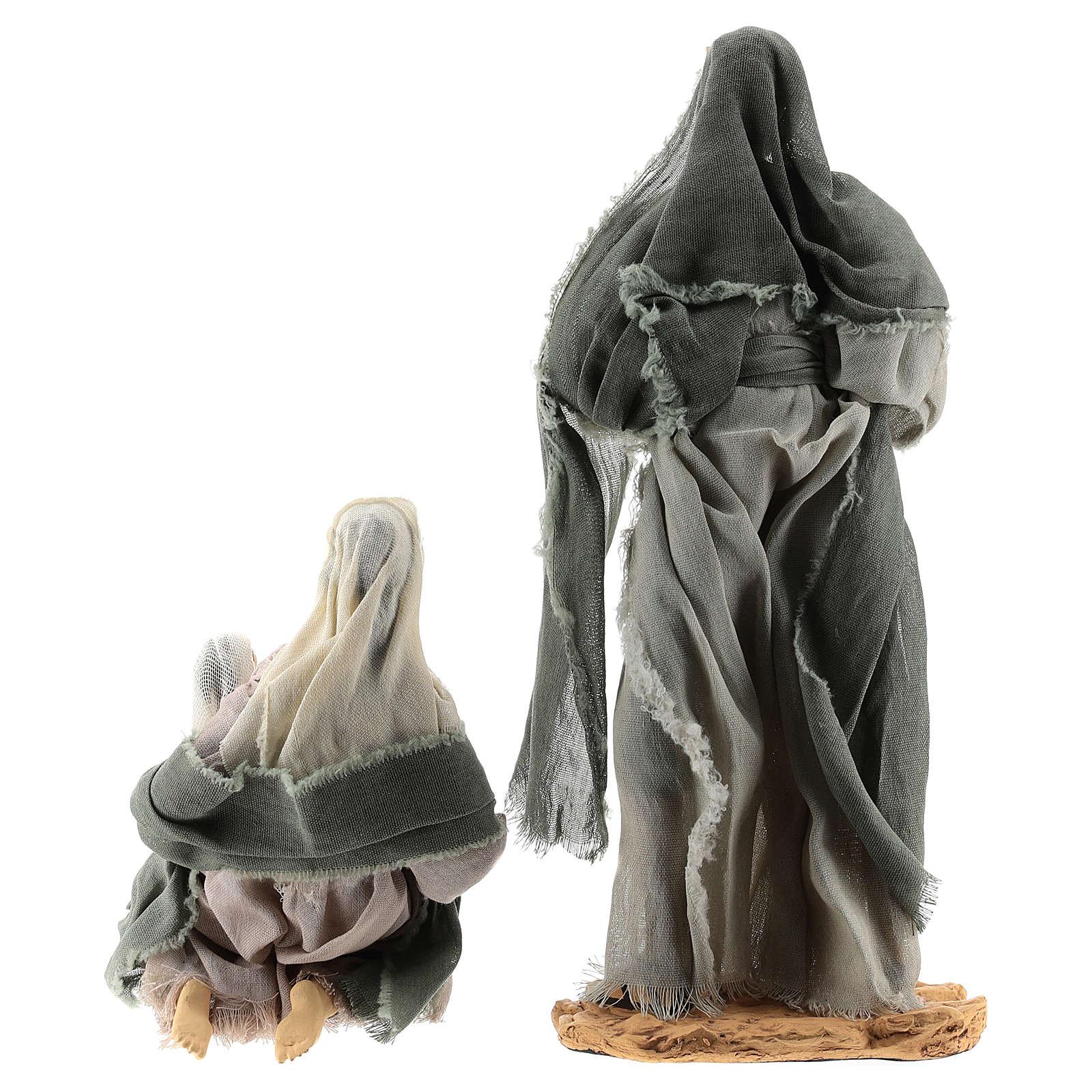 Set 8 pezzi Natività 35 cm con capanna Shabby Chic 3