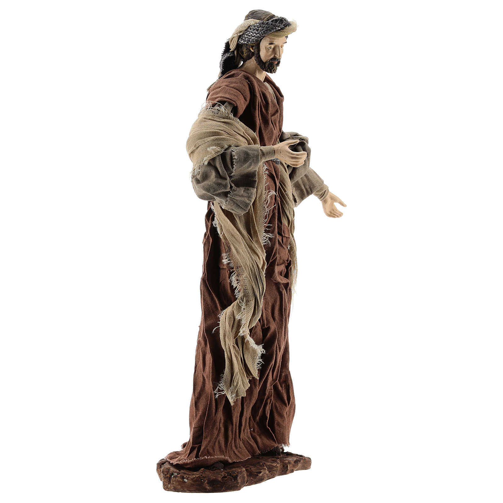 Nativity 35 cm resin with dresses made of bronze and burgundy cloth, Shabby Chic style 3