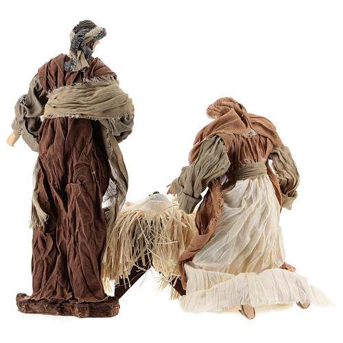 Nativity 35 cm resin with dresses made of bronze and burgundy cloth, Shabby Chic style 6
