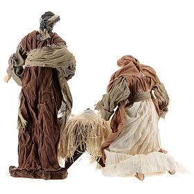 Nativité 35 cm avec tissu couleur bronze Shabby Chic s6