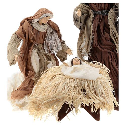 Nativité 35 cm avec tissu couleur bronze Shabby Chic 2