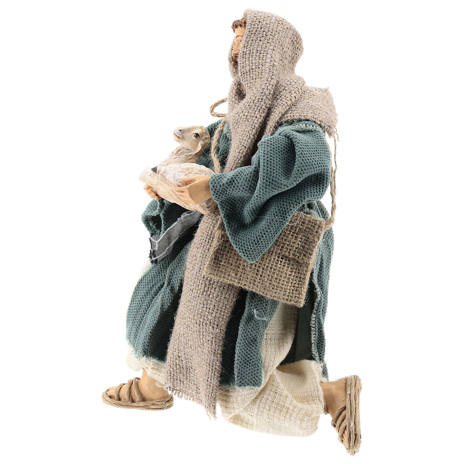 Kneeling shepherd with blue, Shabby Chic style, 30 cm 3