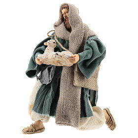 Nativité: Berger 30 cm à genoux avec mouton Shabby Chic
