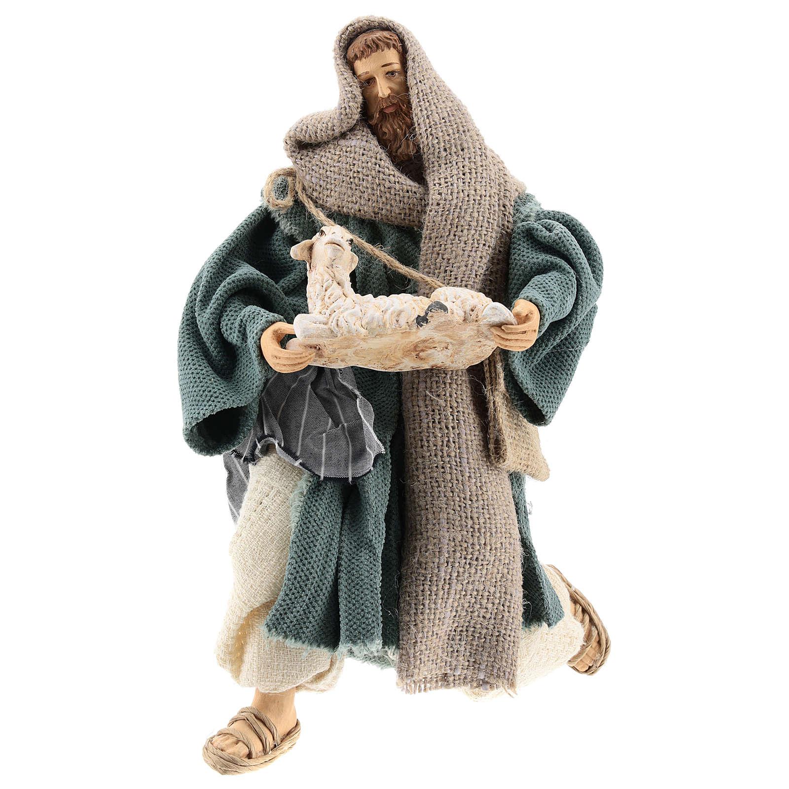 Pastore 30 cm inginocchiato con pecorella Shabby Chic 3