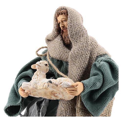 Pastore 30 cm inginocchiato con pecorella Shabby Chic 2