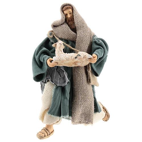 Pastore 30 cm inginocchiato con pecorella Shabby Chic 4