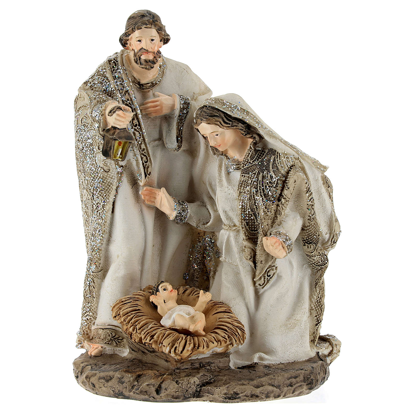 Nativity in resin, cream colour and glitter 15 cm 3
