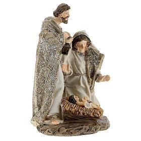 Nativity in resin, cream colour and glitter 15 cm s3