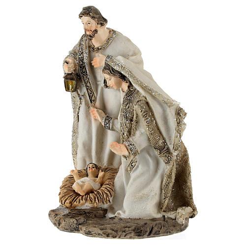 Nativity in resin, cream colour and glitter 15 cm 2
