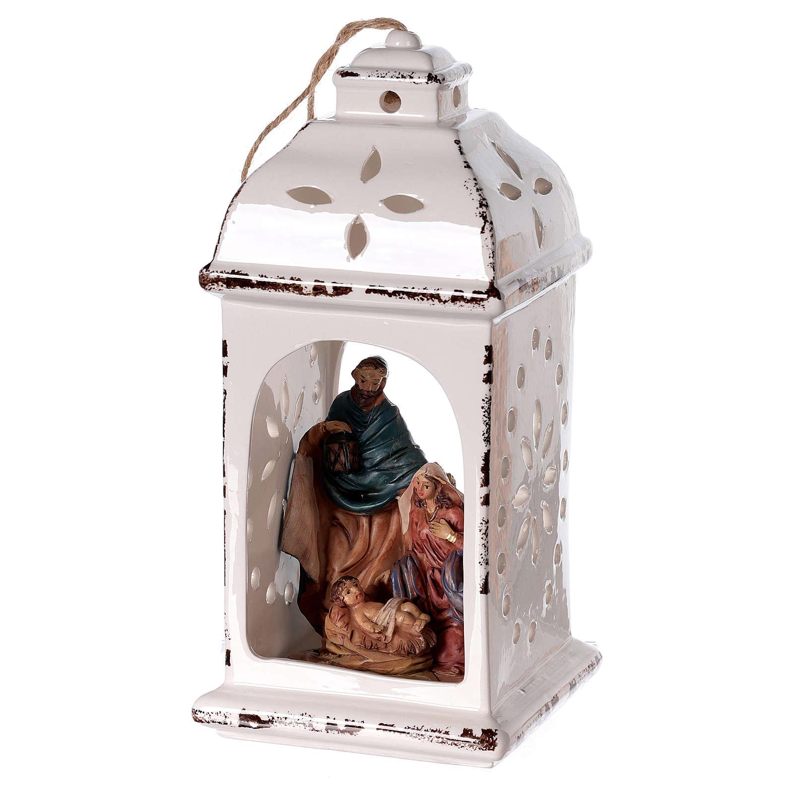 Linterna resina con Natividad tejido 25 cm 3