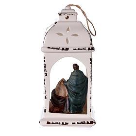 Linterna resina con Natividad tejido 25 cm s4