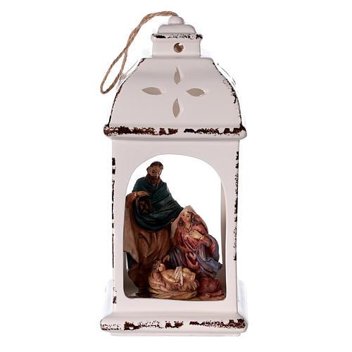 Linterna resina con Natividad tejido 25 cm 1