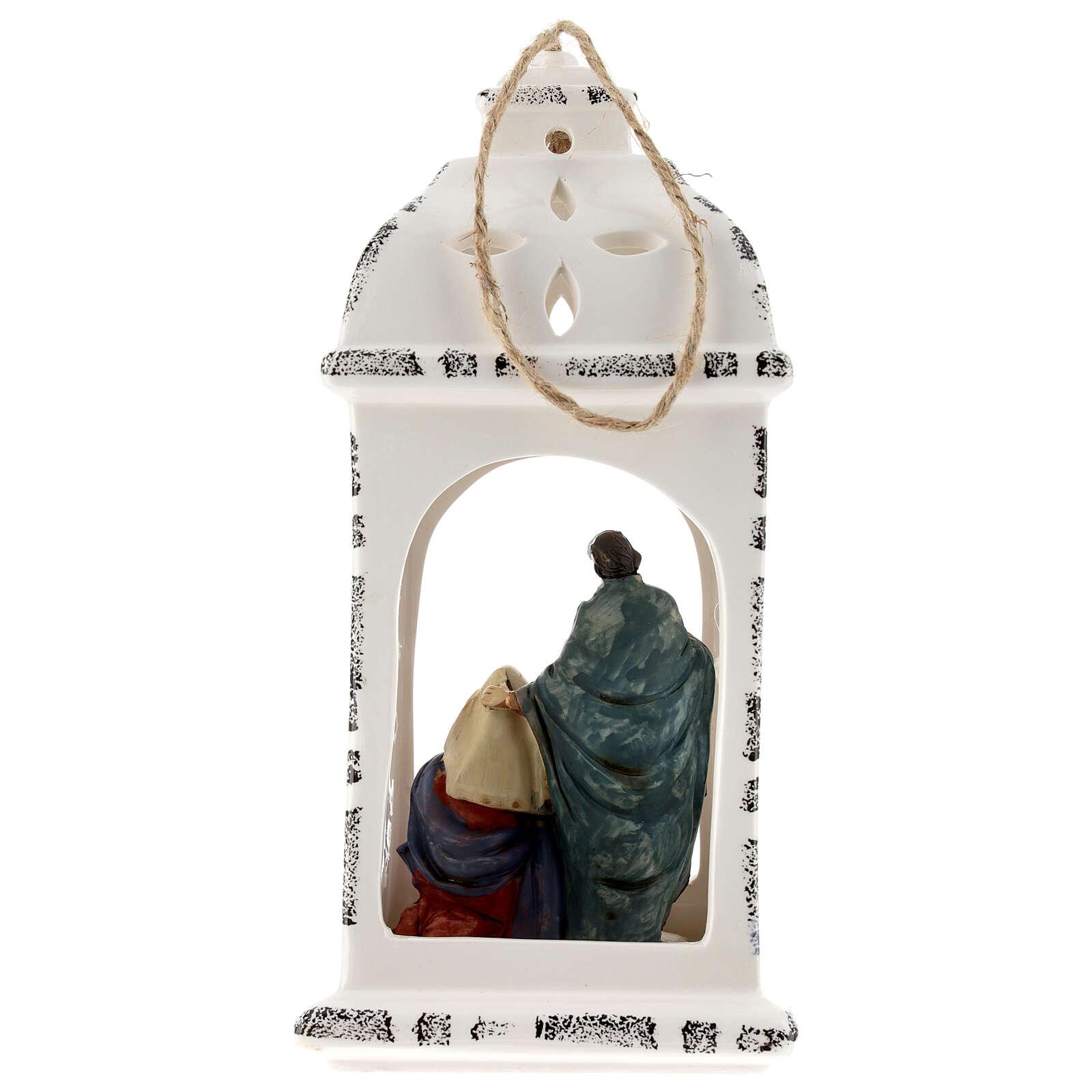Lanterna resina con Natività tessuto 25 cm 3