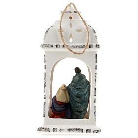 Lanterna resina con Natività tessuto 25 cm s5