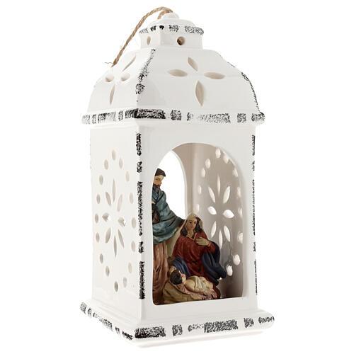 Lanterna resina con Natività tessuto 25 cm 4