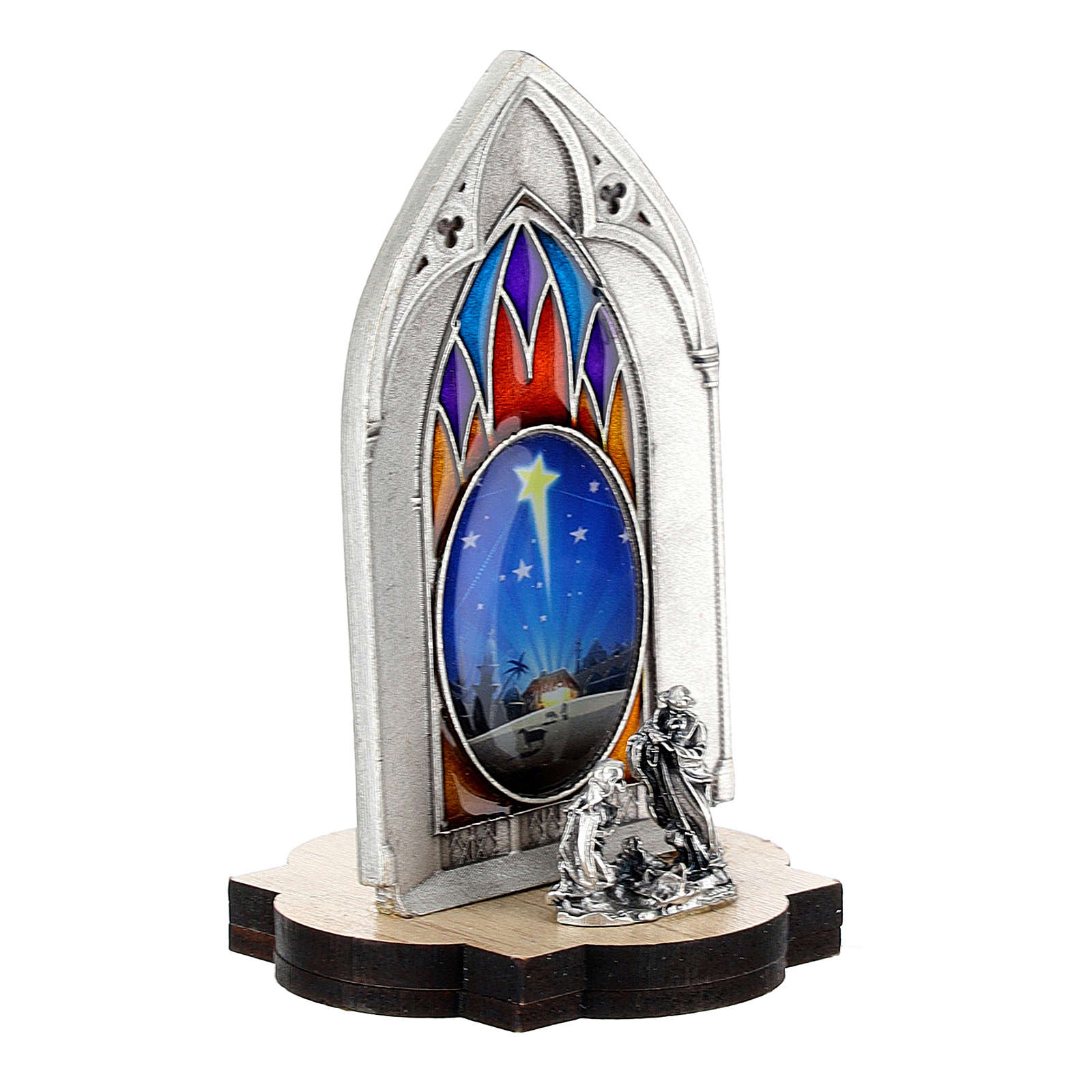 Nativity scene with gothic stained glass and wood base 8 cm 3