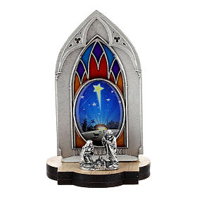 Nativity scene with gothic stained glass and wood base 8 cm s1