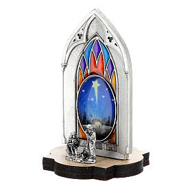 Nativity scene with gothic stained glass and wood base 8 cm s2