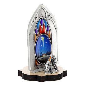 Nativity scene with gothic stained glass and wood base 8 cm s3