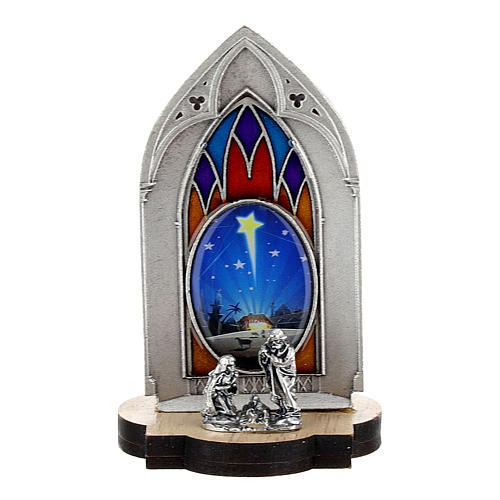 Nativity scene with gothic stained glass and wood base 8 cm 1