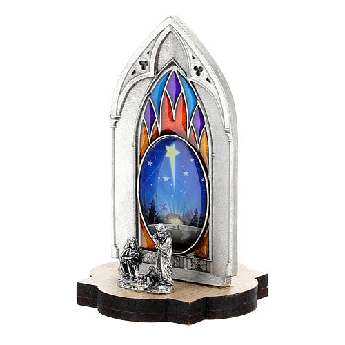 Nativity scene with gothic stained glass and wood base 8 cm 2