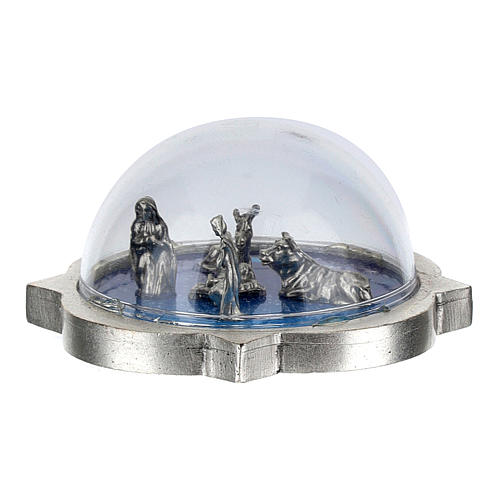 Nativity scene in glass dome, Holy Family, ox and donkey 3