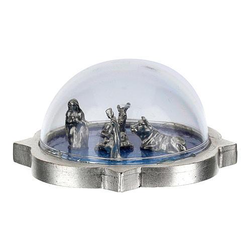Belén con cúpula Sagrada Familia con buey y burro 3