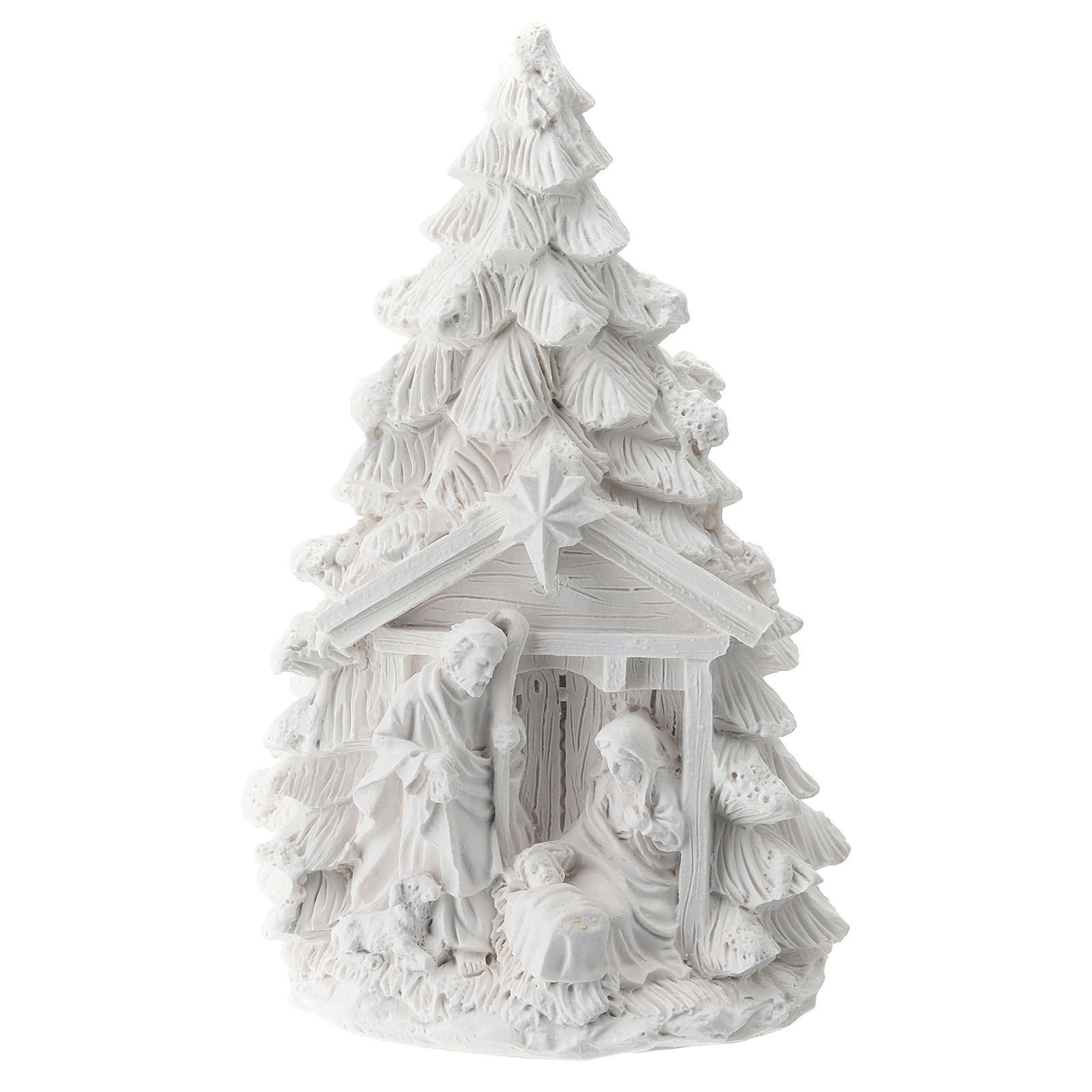 Christmas tree in resin with Nativity 15 cm 3