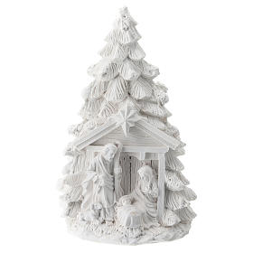 Christmas tree in resin with Nativity 15 cm s1