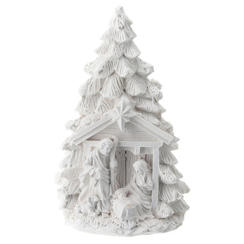 Christmas tree in resin with Nativity 15 cm 1