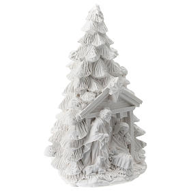 Árbol Navidad resina con Natividad 15 cm s3