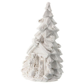 Christmas tree with white resin Nativity 10 cm s2