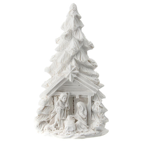 Christmas tree with white resin Nativity 10 cm 1