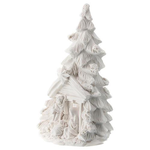 Albero Natale Natività resina bianca 10 cm 2