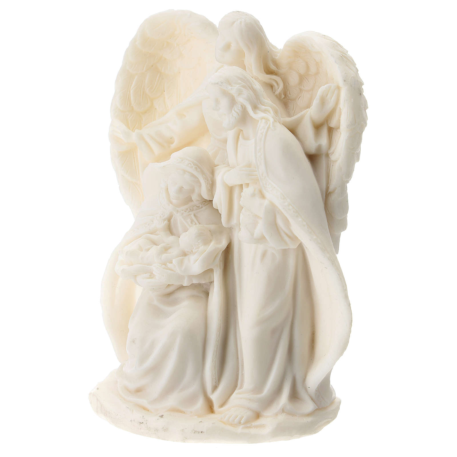 Nativity in white resin with angel 15 cm 3