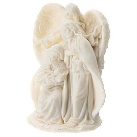 Nativity in white resin with angel 15 cm s2